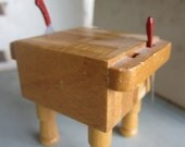Dollhouse Kitchen. Butcher Block Table with Butcher Knife and Cleaver. # 239