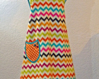 Bright Chevron Zig Zag Women's Full Apron