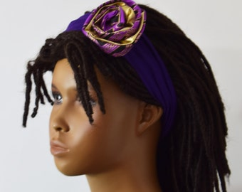 Girls Purple  Knit & African Print Headband - Girls Hair Acessories - Hair Bow - Headbands