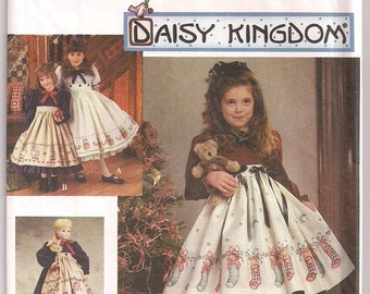 Daisy Kingdom Prairie Dress and Apron Simplicity 9723, Detachable Apron, Size 3 4 5 6, Doll Clothes, Dress and Pantaloons, 18 inch doll