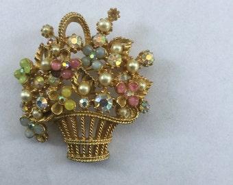Vintage Designer Art Rhinestone Basket of Flowers Brooch Pin 1960s