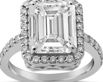 8X6 Emerald Cut Moissanite Engagement Ring With Diamonds