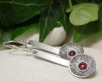 Sterling Silver Garnet Dangle Earrings, Red Gemstone Round Silver Earrings, Bohemian Earrings, Hippy Jewelry,  Organic Earthy Drop Earrings