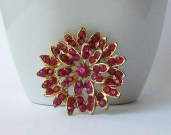 Vintage Rhinestone Pink Flower Brooch