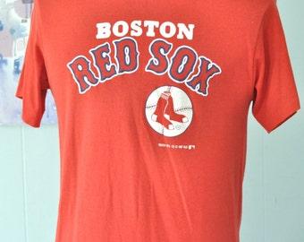 Boston Red Sox Vintage TShirt 80s Tee 1987 1980s by Trench TShirt MEDIUM