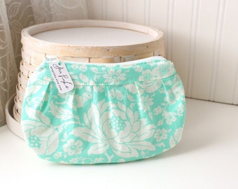 Aqua and White Zip Pouch Turquoise Floral Clutch Teal Small Purse