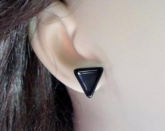 Black Stud Earrings, Black Triangle Studs, Fused Glass Studs, Small Black Studs, Career Jewelry, Back To School Earrings