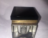 """Vintage Square Ink Well 2 1/2"""" Clear Glass & Brass with Black Slate Lid 2 3/4"""" Tall"""