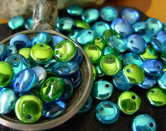 6mm Lentil Beads, Assorted Beads, Mirror Reflection, 10% Off (100) #1QL