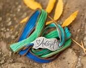 Adoption Jewerly, Silk Wrap Bracelet, Silver Adopt Bracelet, boho chic, eco-friendly, hand dyed, Inspirational
