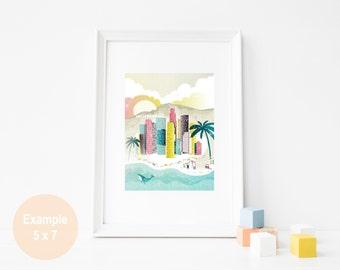 Los Angeles Print, LA Print, LA Wall Art, Los Angeles poster, California print, Los Angeles art print, Wall Art, Home office decor, LAPP01