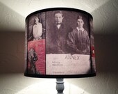 Asylum red lamp shade - lighting, drum lampshade, oddities, Halloween decor, ward, dark decor, drum lamp shade, art, psychiatric hospital