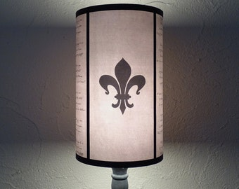 Evil Flowers Beige Fleur de Lis lampshade lamp shade - shabby chic decor, french country decor, beige lamp shade, fleur de lys, calligraphy