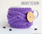 Cup Cozy, Rustic Spring Decor, Gifts For Grandma, Tea Cozy, Knit Coffee Cozy, Coffee Mug Cozy, Knit Coffee Sleeve, Cup Sleeve, Gifts for Mom