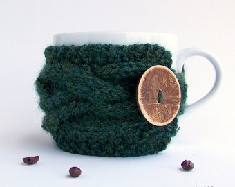 Coffee Cozy, Coffee Mug Cozy, Tea Cozy, Coffee Cup Cozy, Coffee Cup Sleeve, Coffee Sleeve, Rustic Gifts, Gifts Under 20, Green Wedding