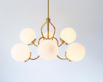 Modern Brass Chandelier Lighting Fixture, 6 White Glass Globes on Fluted Arms, BootsNGus Handcrafted Hanging Pendant Lamp