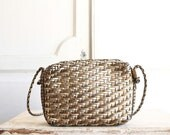 metallic woven leather crossbody bag vintage 80s
