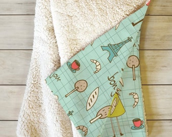 Whimsical Fleece Throw Blanket // Sherpa // Baby Blanket // Home Decor // Bedroom // Bonjour Lapin Design // French Bunnies // Cozy Blanket
