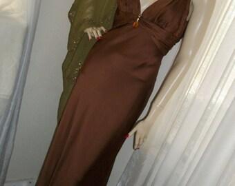 1930s Style Vintage Bronze Liquid Satin Gown Size S/M Carmen Marc Valvo Red Carpet Worthy