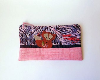 "Zipper Pouch, 5.25x9"" in Pink, Plum and Lilac Purple Floral Fabric with Handmade Felt Fox Embellishment, Fox Pencil Case"