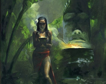Mike Hoffman Exotic South Pacific Island Art Canvas Giclee Print THE TIKI GODDESS!