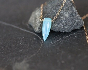 dainty necklace, delicate gemstone necklace, blue stone, small spike, dagger point, blue chalcedony, gold necklace, silver necklace, N131