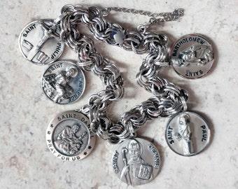 Faith & Martyrs...Vintage ELCO Sterling Silver Catholic Medals Saints Bracelet