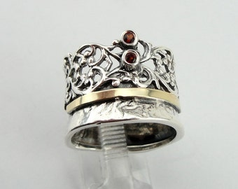 Red Garnet filigree ring, 925 Silver & 9k yellow gold ring, wedding band, size 7, Israeli Jewelry, Fine Ring, Red Stone Gold Ring (ms 977r)