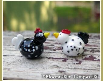 Speckled Chicken Lampwork Bead