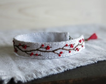 Winter Berries Hand Embroidered Cuff Bracelet - Rustic Tree Branch with Red Berries on Light Grey Linen