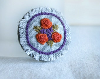 Floral Embroidered Brooch - Orange and Purple Floral Brooch - Hand Embroidered Brooch