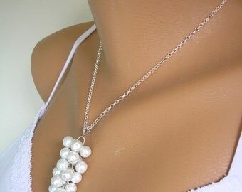 Pearl Cluster Necklace, STERLING Silver, Pearl Pendant, Bridesmaid Sets, Wedding Necklace, White Pearls, Cream Pearls, Bridal Jewelry