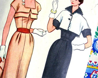 UNCUT * 1950s Simplicity Pattern 8383  - ELEGANT  Misses'  Day or Evening  Dress and Bolero  // Size 14 * bust 32