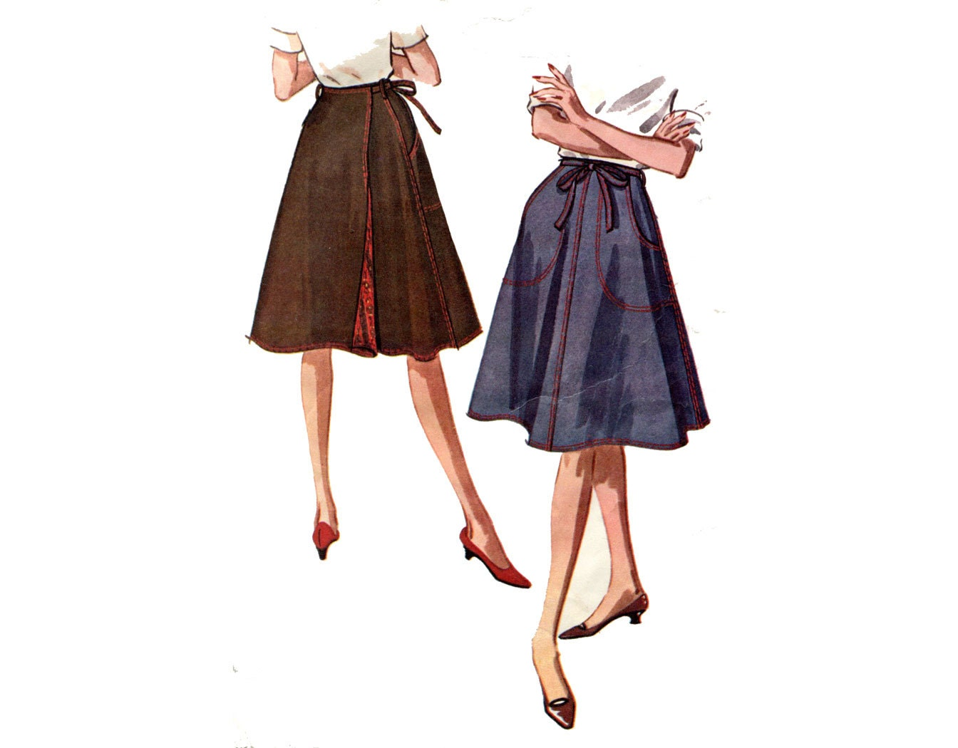 1960s wrap skirt pattern a line back wrap big pockets easy
