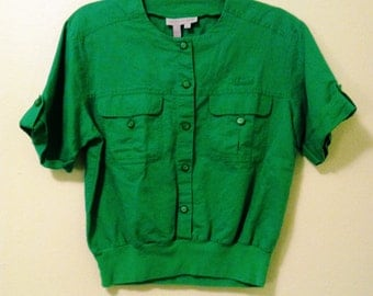 80's Green Buttoned Top