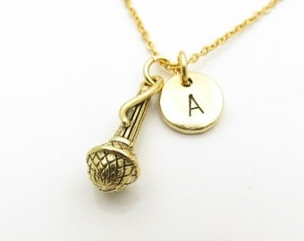 Microphone Necklace, Personalized, Initial Necklace, Antique Gold Microphone, Singer Necklace, Monogram Necklace, Music Charm Jewelry Z345