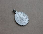 Antique Scalloped Medal of Our Lady of Grace / Victorian Miraculous Medal / Catholic Relic Rosary Medal