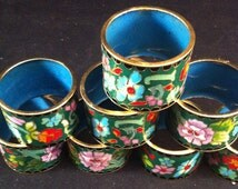 Vintage Cloissone Napkin Rings, Set of 8 Cloissone Napkin Rings, Asian Cloissone,Flower Cloissone Napkins, Asian Enamel , Entertaining,