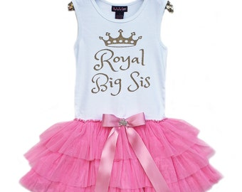 Big Sis Dress, Big Sis Shirt, Big Sister Shirt, Big Sis Tutu, Royal Big Sis Tutu Dress, Girls Party Dress, Tutu Dress