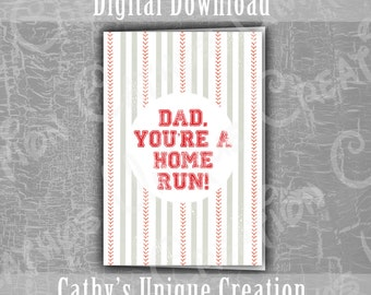 Dad You're A Home Run Greeting Card, Happy Father's day Baseball Card, Sports Fathers Day, Baseball Dad, Digital Download, Print at Home