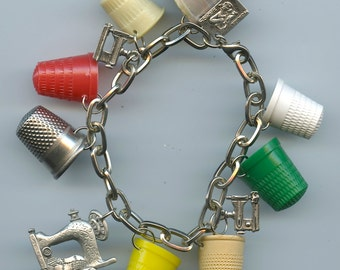 Retro vintage sewing thimbles and sewing machine charm bracelet from recycled items