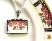 Broken china jewelry pendant necklace antique Art Nouveau roses trio of pink roses upcycled recycled china