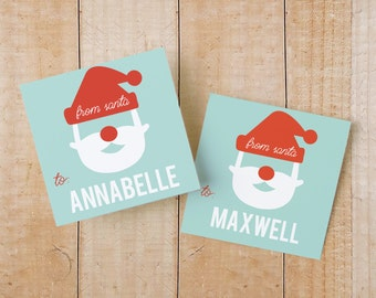 Printable Holiday Gift Tags or Stickers | INSTANT DOWNLOAD | Santa Gift Tags or Labels | Word or Pages | 2x2 | Editable Artwork Colors