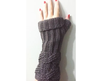 Crochet Pattern Fingerless Gloves Double Cable Ribbed Mittens Texting Wristers, Cuffed, adult, warm fall winter, intermediate, worsted