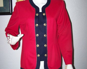 1990s Leslie Fay Petite Red and Navy Blazer Top Size 12P NWT Gold Double Buttons New with Tags Nautical Womens Fashion Party Style Womens