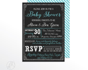 Custom Printable Couples Baby Shower Invitation, Chalkboard Inspired Announcement, Chalk Birthday Boy Party Invitation