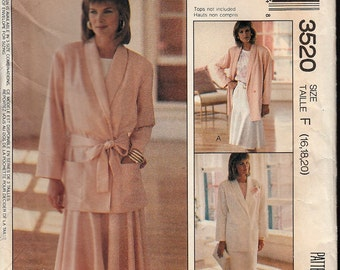 Loose-Fitting Unlined Jacket Tie-Belt and Skirt Pattern OOP UNCUT FF McCall's 3520 Size F- 16,18,20 ©1988