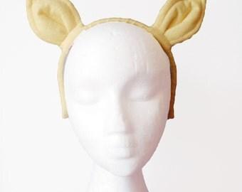 Yellow Pony Ears. Quality Made on Headband.
