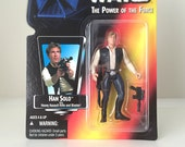Vintage Star Wars Figure Han Solo with Blaster - 1990s Power of the Force Kids Toy - Kenner Star Wars Toy from the Original Trilogy