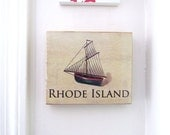 Rhode Island Sailboat wall plaque - Mixed Media - State Souvenir Wall Plaque - Ocean State Wall Art
